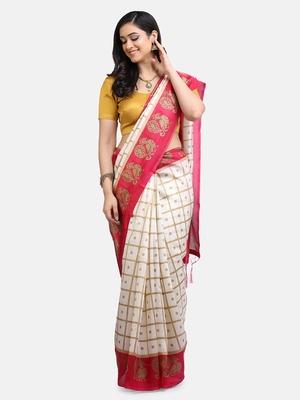 White & Pink Art Silk Printed Saree