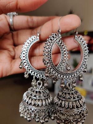 Designer indian traditional oxidised dangler silver jhumkas earrings