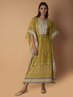 Yellow printed cotton long-tops