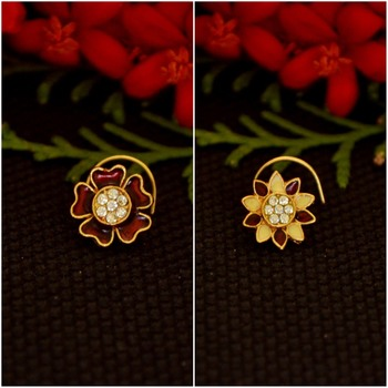 Combo Deal Designer stone studded premium gold plated diamond nose-ring or nose pin