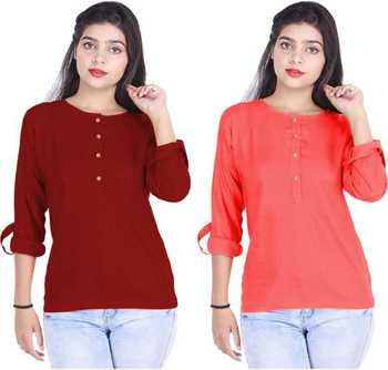 Kevat Gems Casual Roll-up Sleeve Solid Women Brown&Red Cherry Rayon Top (Pack Of 2)