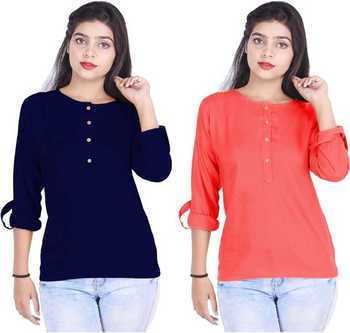 Kevat Gems Casual Roll-up Sleeve Solid Women Navy Blue&Red Cherry Rayon Top (Pack Of 2)