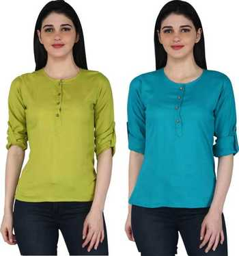Kevat Gems Casual Roll-up Sleeve Solid Women Green&Blue Rayon Top (Pack Of 2)