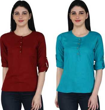 Kevat Gems Casual Roll-up Sleeve Solid Women Brown&Blue Rayon Top (Pack Of 2)