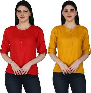 Kevat Gems Casual Roll-up Sleeve Solid Women Red&Mustured Rayon Top (Pack Of 2)