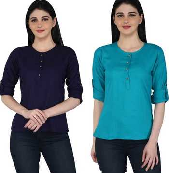Kevat Gems Casual Roll-up Sleeve Solid Women Navy Blue&Blue Rayon Top (Pack Of 2)