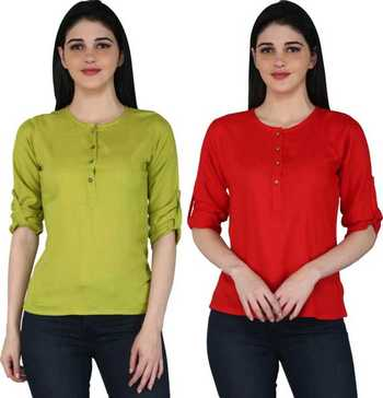Kevat Gems Casual Roll-up Sleeve Solid Women Green&Red Rayon Top (Pack Of 2)