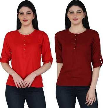 Kevat Gems Casual Roll-up Sleeve Solid Women Red&Brown Rayon Top (Pack Of 2)