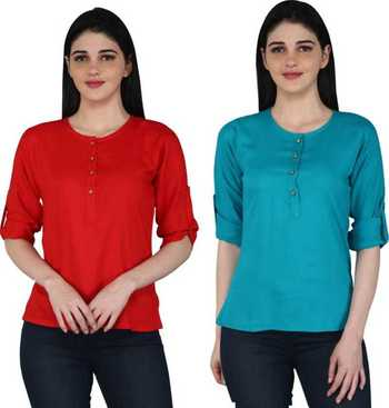 Kevat Gems Casual Roll-up Sleeve Solid Women Red&Blue Rayon Top (Pack Of 2)