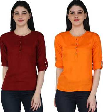 Kevat Gems Casual Roll-up Sleeve Solid Women Brown&Orange Rayon Top (Pack Of 2)