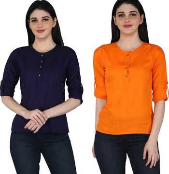 Kevat Gems Casual Roll-up Sleeve Solid Women Navy Blue&Orange Rayon Top (Pack Of 2)