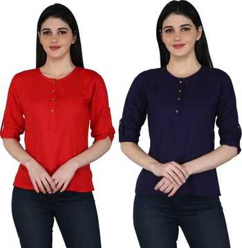 Kevat Gems Casual Roll-up Sleeve Solid Women Red&Navy Blue Rayon Top (Pack Of 2)