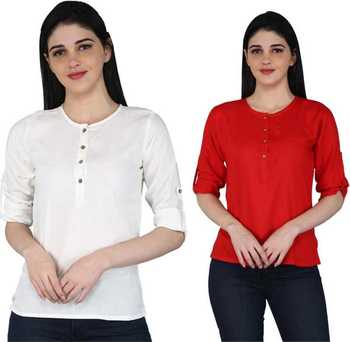 Kevat Gems Casual Roll-up Sleeve Solid Women White&Red Rayon Top (Pack Of 2)