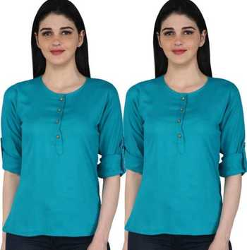 Kevat Gems Casual Roll-up Sleeve Solid Women Light Blue Rayon Top (Pack Of 2)