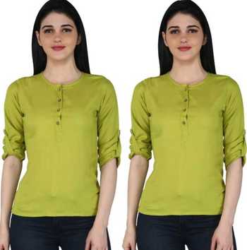 Kevat Gems Casual Roll-up Sleeve Solid Women Green Rayon Top (Pack Of 2)