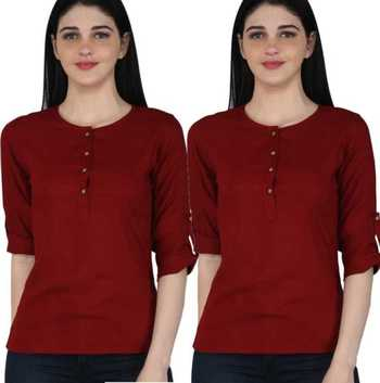 Kevat Gems Casual Roll-up Sleeve Solid Women Maroon Rayon Top (Pack Of 2)