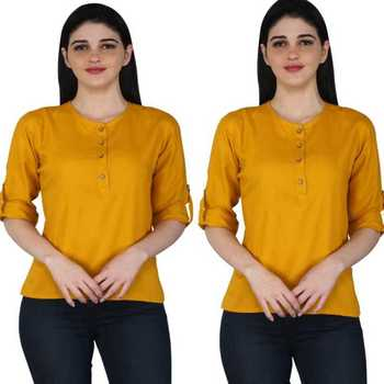 Kevat Gems Casual Roll-up Sleeve Solid Women Mustard Rayon Top (Pack Of 2)