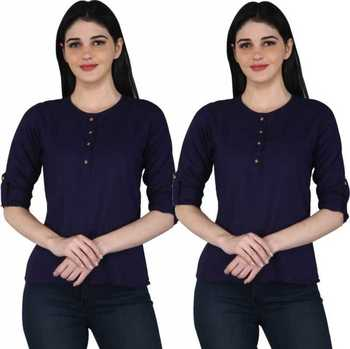 Kevat Gems Casual Roll-up Sleeve Solid Navy blue Rayon Top (Pack Of 2)