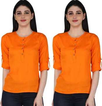 Kevat Gems Casual Roll-up Sleeve Solid Orange Rayon Top (Pack Of 2)
