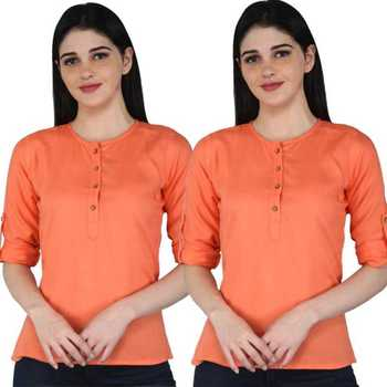 Kevat Gems Casual Roll-up Sleeve Solid Peach Rayon Top (Pack Of 2)
