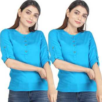 Kevat Gems Casual Roll-up Sleeve Solid Red Rayon Top (Pack Of 2)