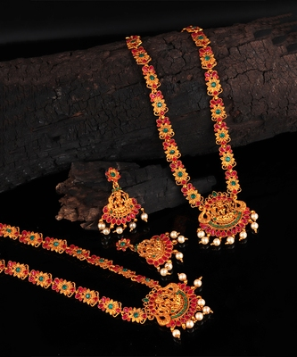 Gold plated Stone Studded Long and Short Necklace Set With Earings