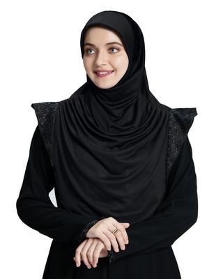 Mehar Hijab's Modest Women's Designed Stylish Polycotton Feel Good Fabric  Naaz Hijab Black-Black
