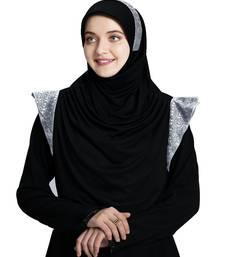 Mehar Hijab's Modest Women's Designed Stylish Polycotton Feel Good Fabric  Naaz Hijab Black-Silver Glit