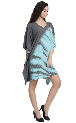 JSDC Lounge Wear Printed Tie Dye Cotton Fabric Women Kaftan