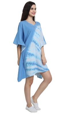 JSDC Printed Daily Wear Women Cotton Tie Die Short Kaftan