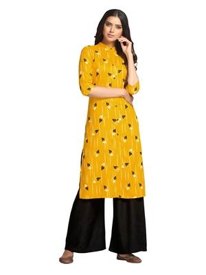 Mustard printed cotton long-kurtis