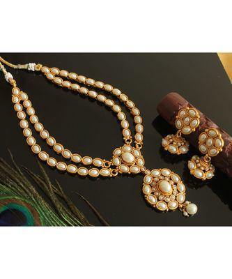 Beautiful antique Double layer Pearl Necklace set-Dj17568