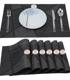 NFI essentials PVC Dining Table Dinner Mats Set of 6 Pcs Dinner Placemats Multipurpose Dinner & Kitchen Coaster (Black)