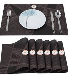NFI essentials PVC Dining Table Dinner Mats Set of 6 Pcs Dinner Placemats Multipurpose Dinner & Kitchen Coaster (Brown)