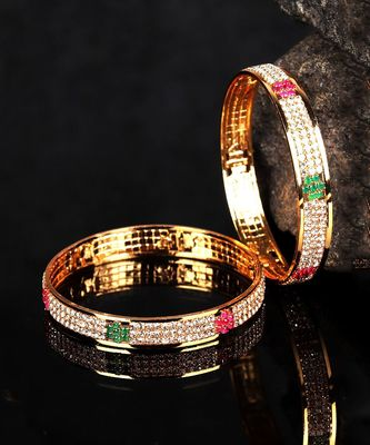 Gold Plated Stone Studded Set of Four Bangles