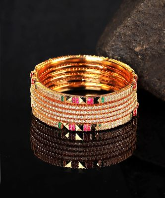 White Gold Plated Stone Studded Set of Six Bangles