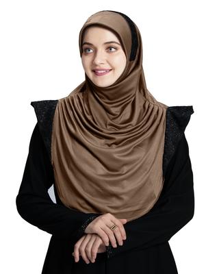 Mehar Hijab's Modest Women's Designed Stylish Polycotton Feel Good Fabric  Naaz Hijab Dark wheat-Black Glit