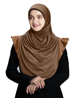 Mehar Hijab's Modest Women's Designed Stylish Polycotton Feel Good Fabric  Naaz Hijab Dark Wheat- Copper Glit