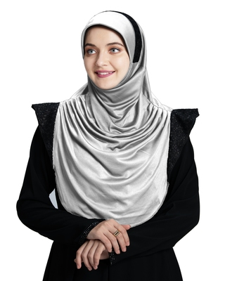 Mehar Hijab's Modest Women's Designed Stylish Polycotton Feel Good Fabric  Naaz Hijab Silver- Black Glit