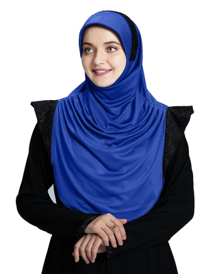 Mehar Hijab's Modest Women's Designed Stylish Polycotton Feel Good Fabric  Naaz Hijab Royal Blue-Black Glit