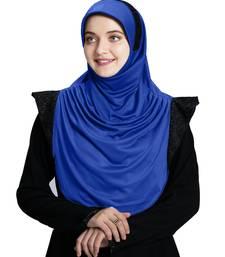 Mehar Hijab's Modest Women's Designed Stylish Polycotton Feel Good Fabric  Naaz Hijab Royal Blue-Black Glit