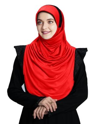 Mehar Hijab's Modest Women's Designed Stylish Polycotton Feel Good Fabric  Naaz Hijab Red-Black Glit