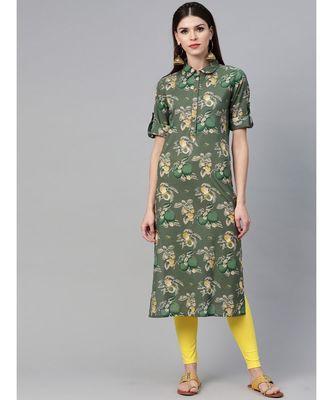 Green Floral Printed Straight Kurta