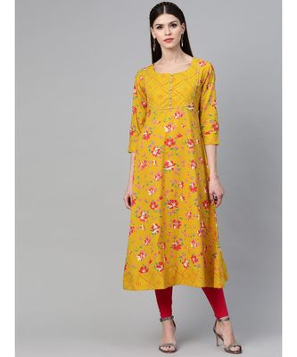 Mustard Floral Printed Anarkali