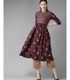 Wine & Gold Printed A-line Kurta