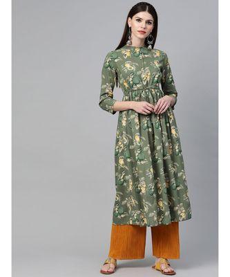 Green Floral Printed A-Line Kurta