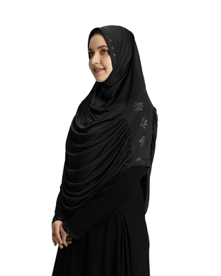 Modest Women's Embellished with Glittering Stones Polyester Feel Good Fabric  AASIMAH  HIJAB BLACK