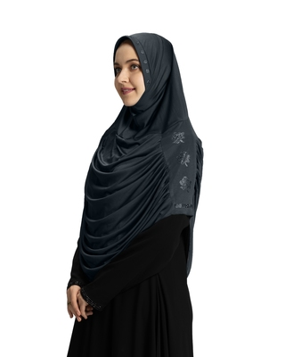Modest Women's Embellished with Glittering Stone Designs Stylish Polyester Feel Good Fabric  AASIMAH  HIJAB GREY
