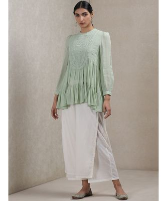 Mint Green Embroidered Tiered Kurti