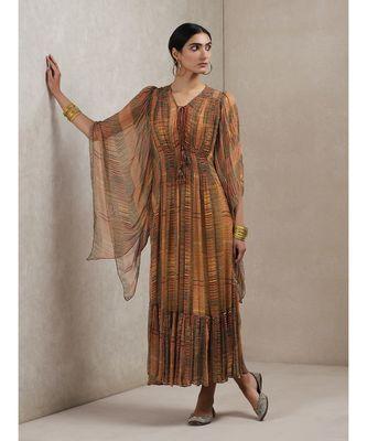 V Neck 3/4 Sleeve Geometrci Print Dress
